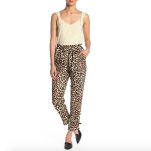 Know One Cares High Waist Leopard Paperbag Pants